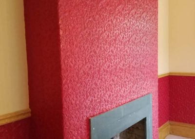 Clean & paint Lincrusta wallcovering to chimney breast & all lower areas