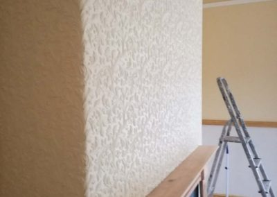 Hang Lincrusta wallcovering to chimney breast & all lower areas