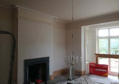 Hang ling paper to ceiling & walls then paint patio doors,frames and surround