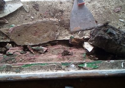 Bolster out concrete on top of rotten timbers