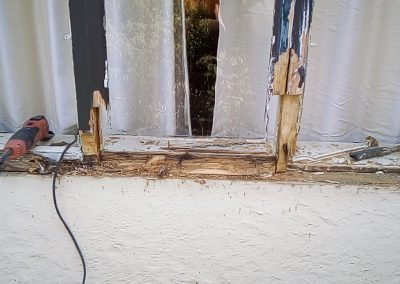 Casements off and areas sawn out where rotten timbers remain