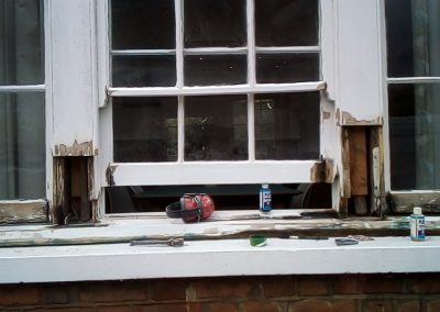Main bay window during restoration